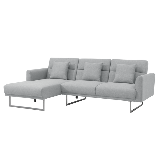 Stan L-Shaped Sofa Bed - Left Facing Chaise Lounge - Silver